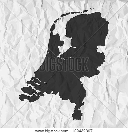 Netherlands map in black on a background crumpled paper