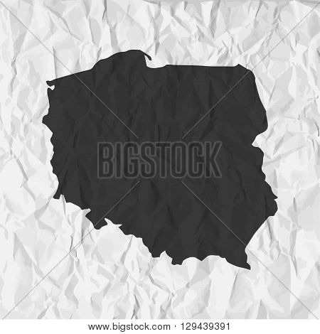 Poland map in black on a background crumpled paper