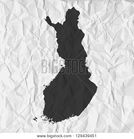 Finland map in black on a background crumpled paper