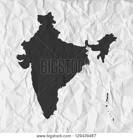 India map in black on a background crumpled paper