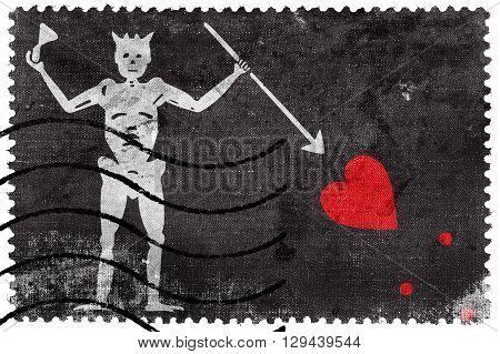 Blackbeard Pirate Flag old postage stamp, vintage look