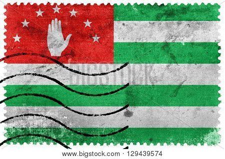 Flag of Abkhazia old postage stamp, vintage look