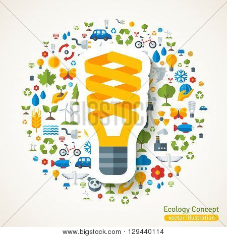 Energy saving yellow light bulb symbol flat sticker. Vector concept illustration with icons of ecology, environment, green energy and pollution. Save the planet. Eco Technology.