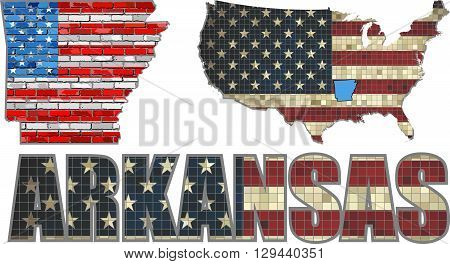 USA state of Arkansas on a brick wall - Illustration,