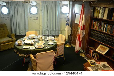 KEY WEST, FL, USA - DEC 20: Captain Room of USCGC Ingham (WHEC-35) on Dec 20, 2012 in Key West, Florida, USA. Ingham is a decommissioned United States Coast Guard Cutter, was served in US Navy in WWII