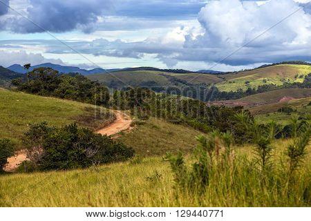 Jungle road and blue sky - Brazilian tropical landscape Brazil