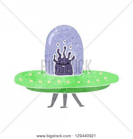 freehand retro cartoon flying saucer