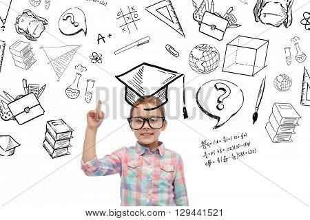 childhood, school, education and people concept - happy little girl in eyeglasses pointing finger up with doodles