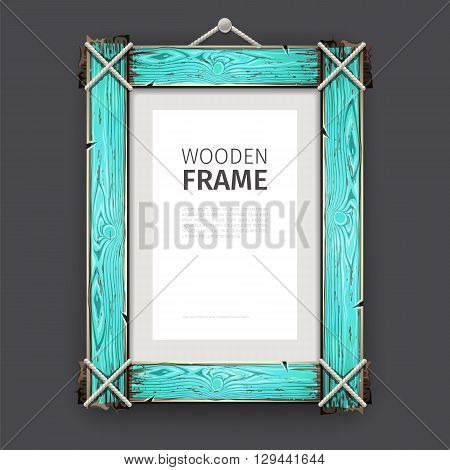 Old wooden rectangle frame with cracked cyan paint. Clipping paths included.