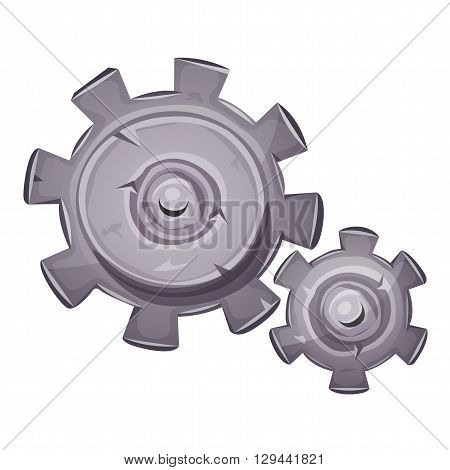 Illustration of a cartoon stone and rock gearing set with big and small clockwork gears made of cogwheel symbolizing time work in progress motion concept and mechanism of ideas