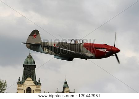 OSTRAVA, CZECH REPUBLIC - APRIL 30, 2015: Combat Plane YAK-3, Yakovlev, 70-th Anniversary of the Liberation of Ostrava on April 30, 2015 in Ostrava, Czech Republic / World War II Smallest Fighter Plane
