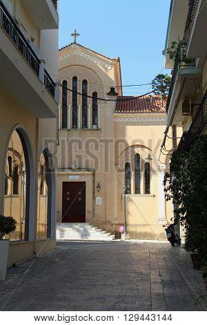 ZAKYNTHOS, ZAKYNTHOS/GREECE - JULY 27, 2015: Church Mitropoli Zakynthos Town Centre on July 27, 2015 in Zakynthos, Greece