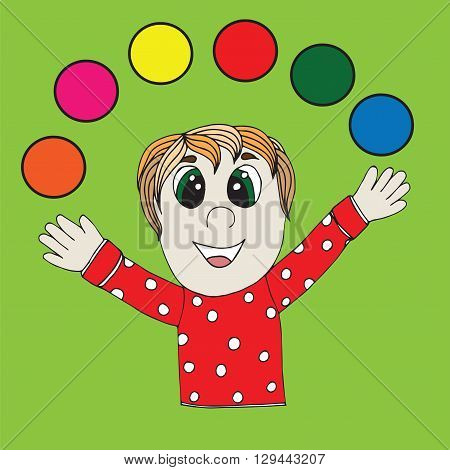 Juggler man with different color ball on the bright green background.