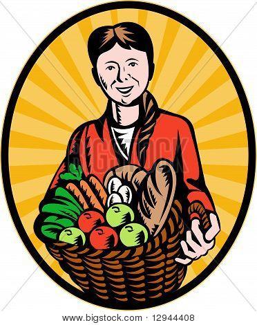 female organic farmer crop harvest