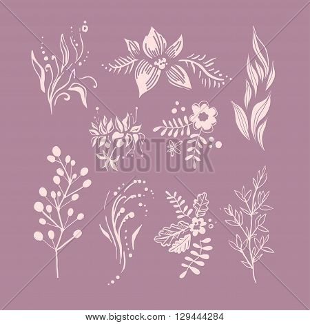 Hand Drawn Fantastic Plant Monochrome Set Of Pink Shade Beautiful Icons Isolated On Purple Background