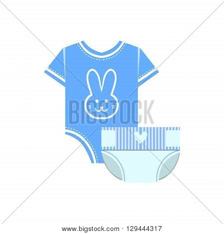 Body And Nappy For Baby Flat Simple Cute Style Cartoon Design Vector Illustration Isolated On White Background