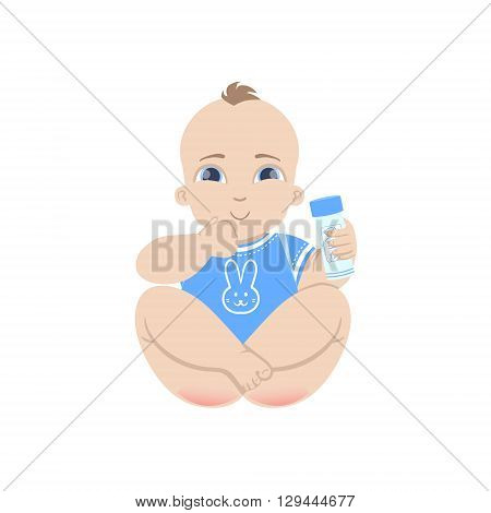 Baby In Blue Holding Baby Powder Flat Simple Cute Style Cartoon Design Vector Illustration Isolated On White Background