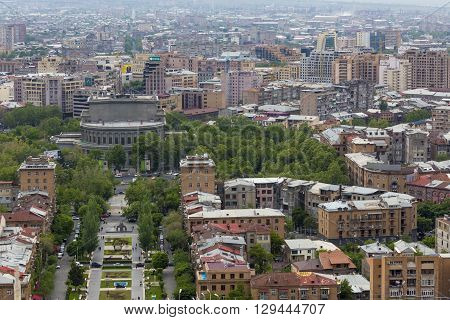 YEREVAN ARMENIA - MAY 02 2016: View from Cascade which is giant stairway and one of main landmarks in city. The exterior of Cascade in addition to stairs has multiple levels with art objects
