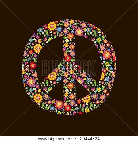 Print with peace flower symbol