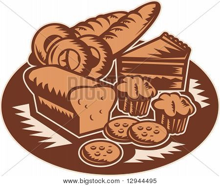 bakery pastry products woodcut