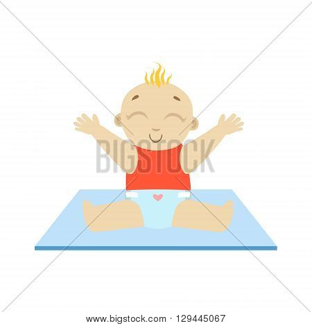 Baby In Red Wants The Hug Flat Simple Cute Style Cartoon Design Vector Illustration Isolated On White Background