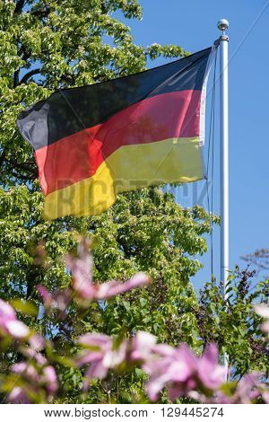 The German Flag fluttering in the wind.