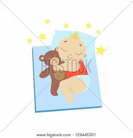 Baby In Red Sleeping With Teddy Bear Flat Simple Cute Style Cartoon Design Vector Illustration Isolated On White Background