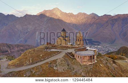 Gergeti Trinity Church on the hill near kazbek mount