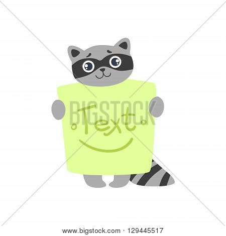 Raccoon With The Template For The Message Cute Childish Colorful Flat Vector Illustration On White Background