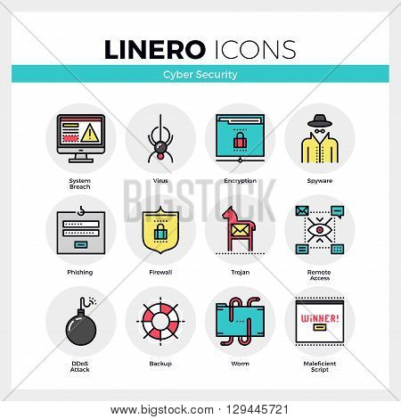 Cyber Security Linero Icons Set