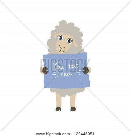 Sheep With The Template For The Message Cute Childish Colorful Flat Vector Illustration On White Background