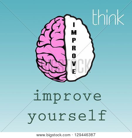 Abstract colorful background with brain and the word improve written on the right side of the brain