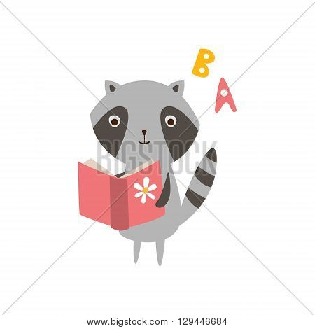 Raccoon Reading A Book Creative Funny And Cute Flat Design Vector Illustration In Simplified Mulicolor Style On White Background