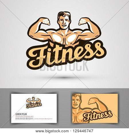 fitness vector logo. gym or bodybuilding icon