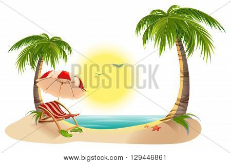 Beach chaise longue under palm tree. Beach umbrella. Summer vacation in tropics. Cartoon vector illustration