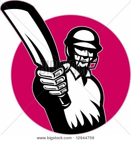 cricket batsman pointing bat