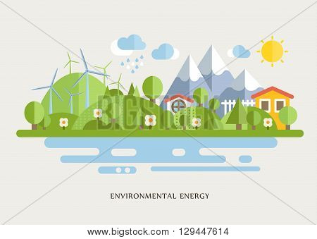 Wind Turbins In Countryside Lined Flat Vector Illustration In Bright Colorful Simplified Infographic Style