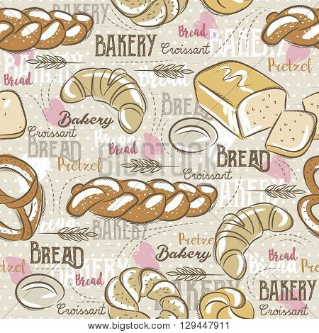 Background with different breads croissant wheat and text. Ideal for printing onto fabric and paper or scrap booking.