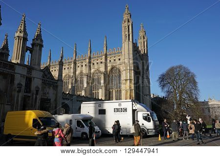 CAMBRIDGE, UK - DECEMBER 23: A BBC crew sets up before the recording and broadcast of the annual Christmas Eve Carols From King's concert, given in the historic chapel by the King's College Choir in Cambridge, England on December 23 2015.