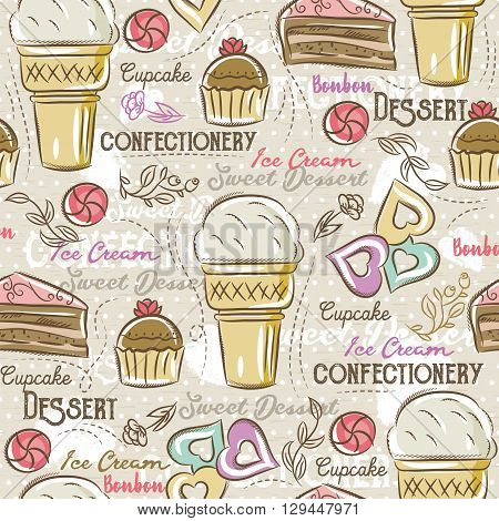Background with cupcake ice cream cake and cookie vector Ideal for printing onto fabric and paper or scrap booking.