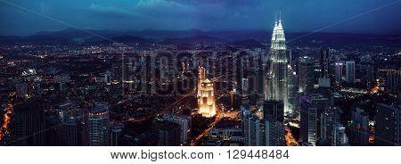 KUALA LUMPUR, MALAYSIA, NOVEMBER 22: Kuala Lumpur skyline at the night, panorama