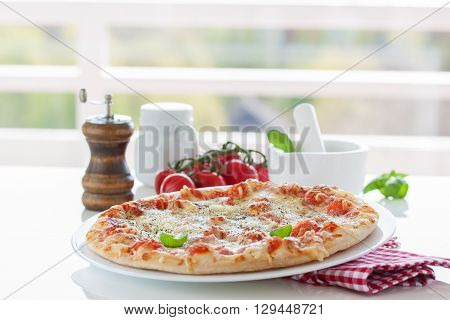 Fresh baked pizza with melted cheese, Italian herbs and tomato sauce and fresh basil on a white plate on a kitchen background