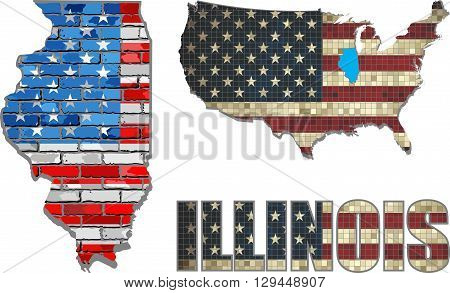 USA state of Illinois on a brick wall - Illustration, The flag of the state of Illinois on brick textured background,  Illinois Flag painted on brick wall, Font with the United States flag,  Illinois map on a brick wall