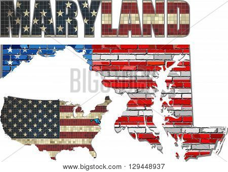 USA state of Maryland on a brick wall - Illustration,
