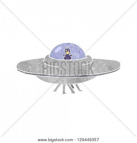 freehand retro cartoon UFO