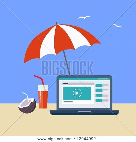 Home Office OnThe Beach Flat Vector Illustration In Bright Colorful Simplified Infographic Style