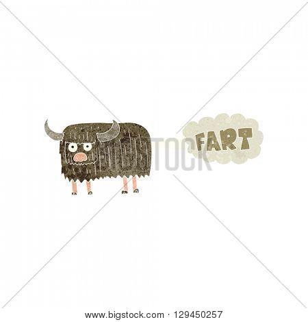 freehand retro cartoon hairy cow farting