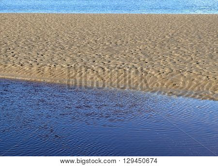 ripples in blue water and ripples in sand