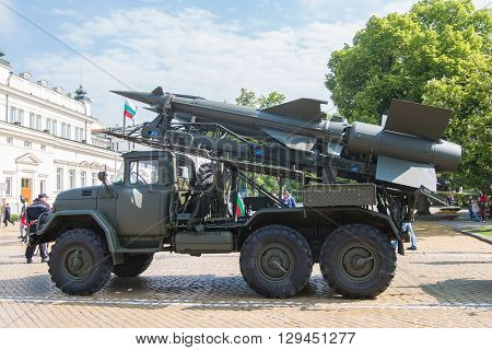 Sofia, Bulgaria - May 06: Day of Valor. Surface-to-air missile system c125 on military hardware parade. S125. Side view.On May 06, 2016 in Sofia Bulgaria.