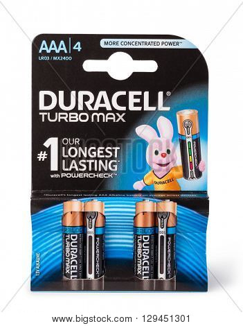 Moldova, March 17, 2016. Pack of 4  Duracell alkaline AAA Batteries